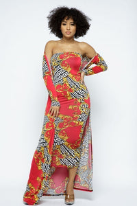 Two-Piece - Venechia Print Tube Dress With Cardigan Set - Local Scenes