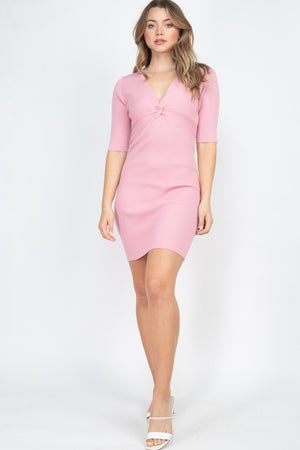 Pink Dress - Twist Knot Knit Dress - Local Scenes