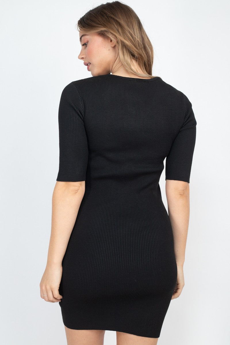 Black Dress - Twist Knot Knit Dress - Local Scenes
