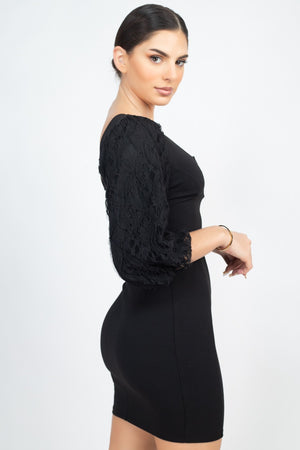 Black Dress - Elbow Sleeve V Wire Bodycon Dress - Local Scenes