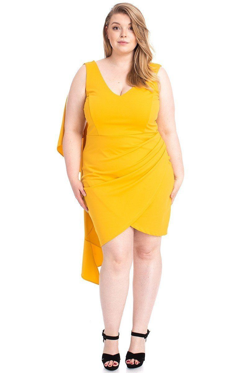 Yellow Dress - Back Shoulder Cape Plus Size Minid Ress - Local Scenes
