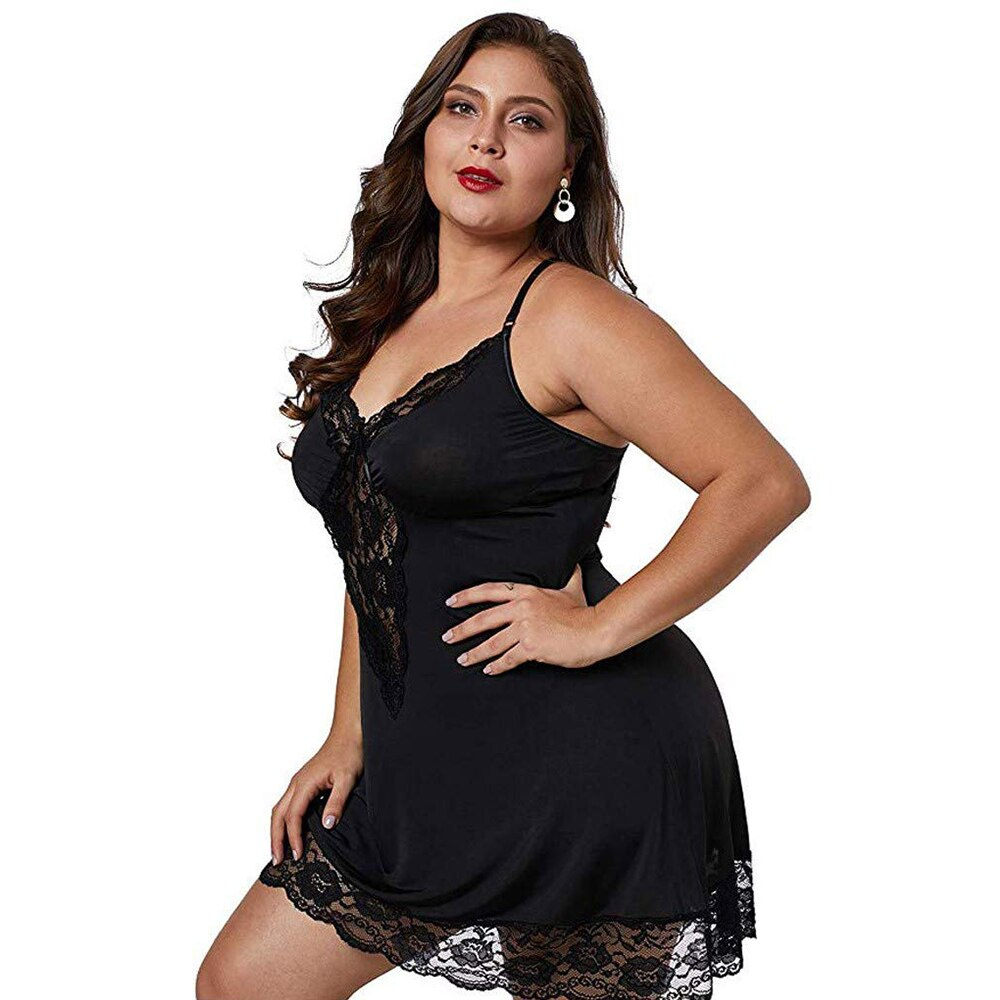 Lingerie - Babydoll Cross Back Plus Size Lace Lingerie - Local Scenes