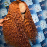 Colors - Orange Human Hair Wig Ginger Colored Human Hair Wigs Curly Deep T Part Lace Front Human Hair Wigs Brazilian Preplucked Lace Wig - Local Scenes