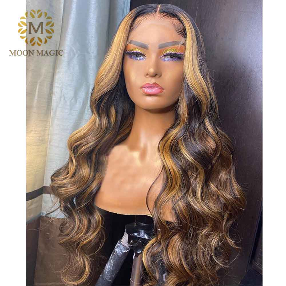 Ombre - Highlight Wig Body Wave Ombre Human Hair Wig Colored Lace Front Wigs 250 Density Lace Wig Preplucked Lace Front Human Hair Wigs - Local Scenes