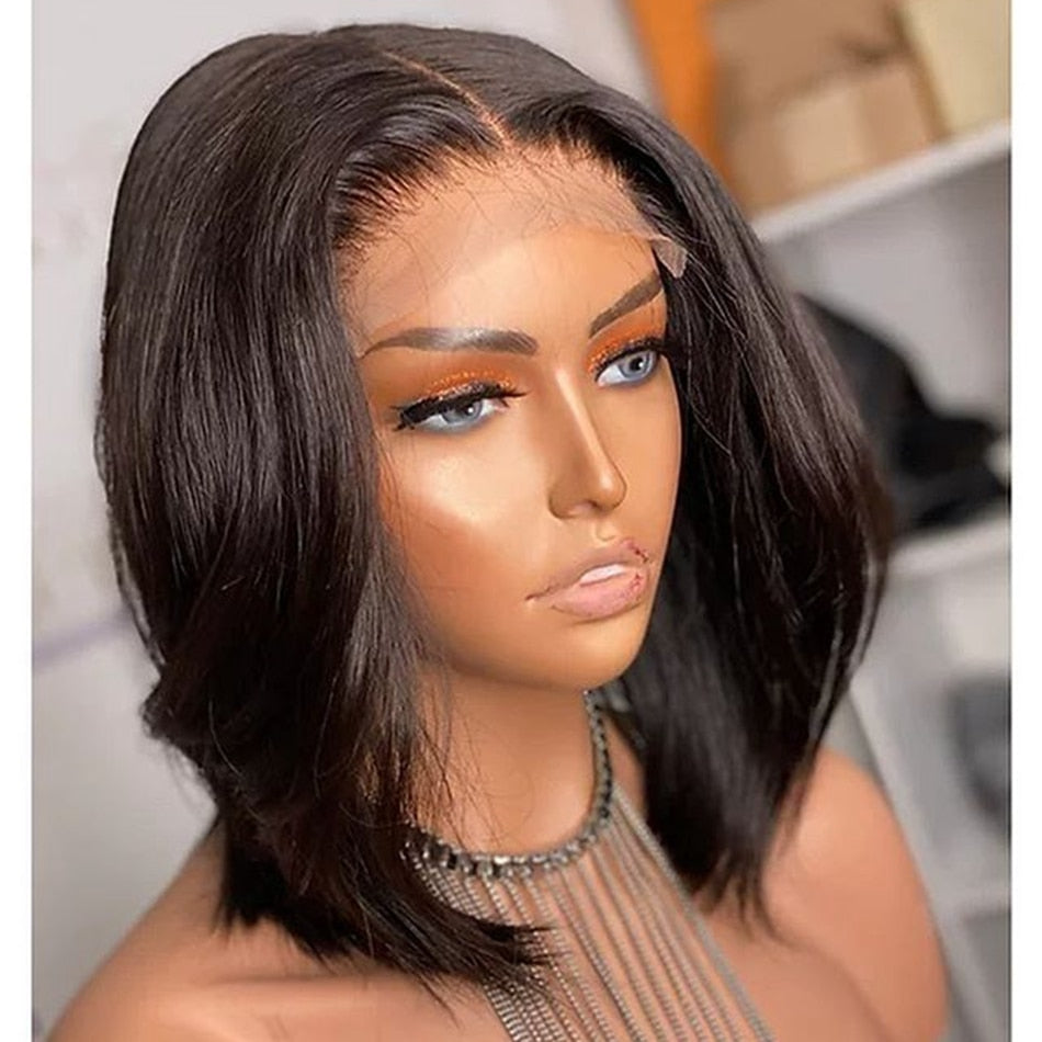 Natural Color Silk Base Bob Human Hair Lace Front Wigs for Black Women Lace Frontal Indian Remy Hair Wigs