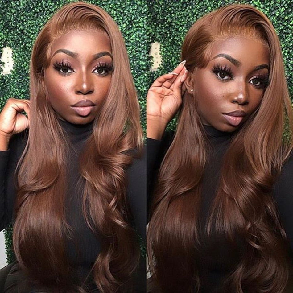 Brazilian Human Hair 360 Lace Front Wigs Chocolate Brown Color Body Wave 4x4 Silk Top Full Lace Wigs for Women 150Density Wigs - Local Scenes Store