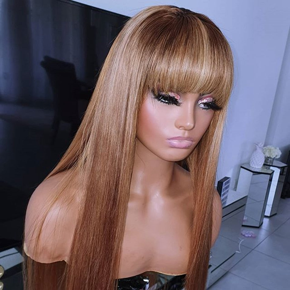 Bangs - Silky Straight Light Brown Human Hair Lace Frontal Wigs with Bangs - Local Scenes