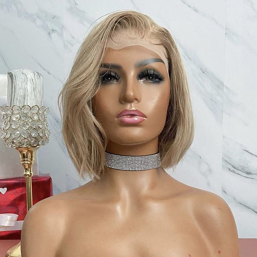 Short - Malaysia Ash Blonde Short Bob Human Hair Wigs with Baby Hair 150Density 13x6 Deep Part Transparent Lace Front Wigs Bleached Knot - Local Scenes