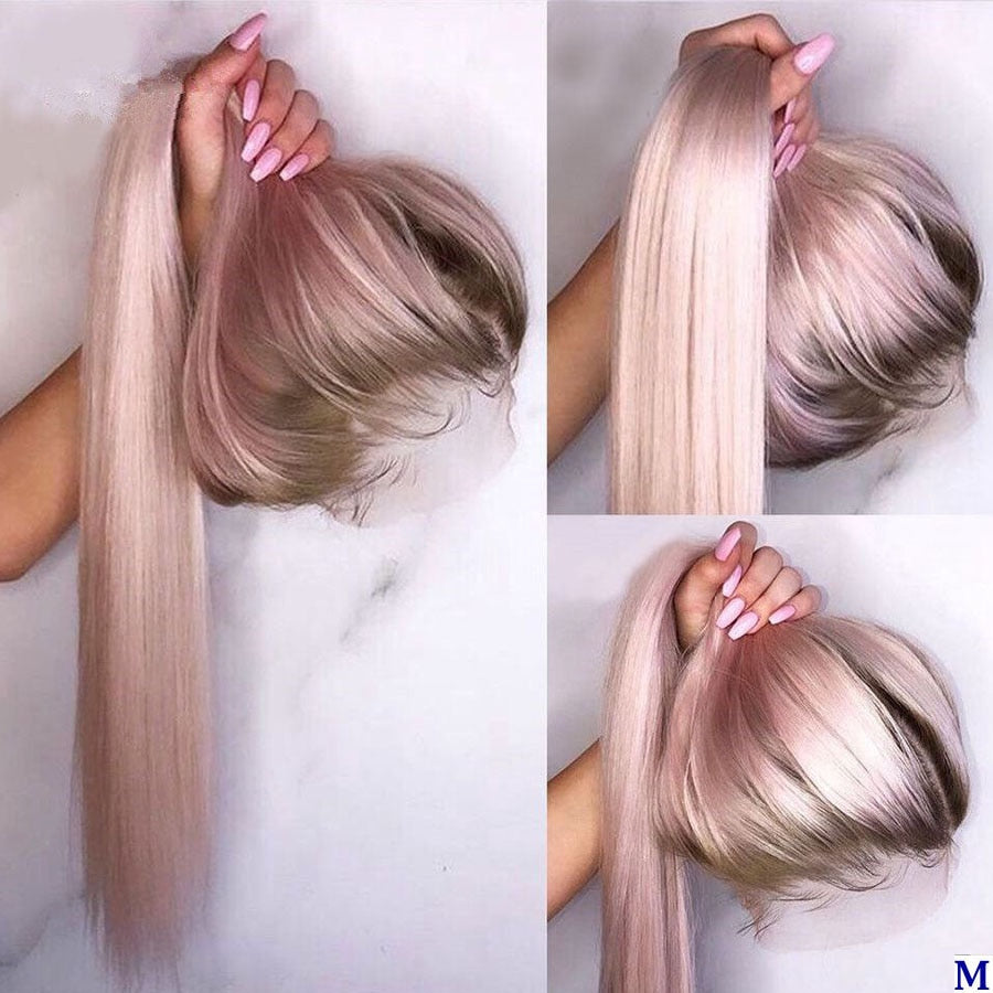 Colors Ombre Pink Lace Front Human Hair Wigs with Baby Hair Silky Straight PrePlucked Natural Hair - Local Scenes Store