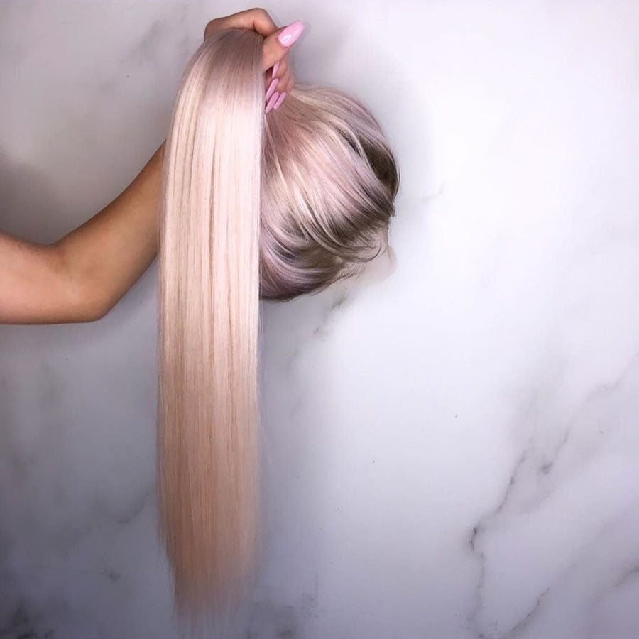 Colors - Ombre Pink Lace Front Human Hair Wigs with Baby Hair Silky Straight PrePlucked Natural Hair - Local Scenes