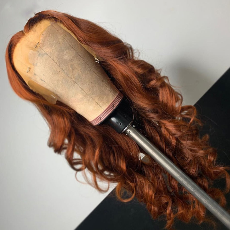 Colors - Full Lace Ginger Wavy Malaysia Human Hair Wigs Preplucked Lace Front Wavy Blonde Wig - Local Scenes