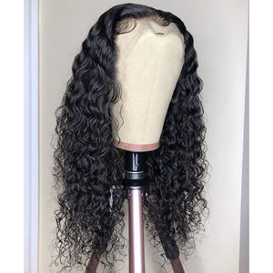 Curly - Fake Scalp Wig 360 Lace Frontal 180% Density Deep Wave Frontal Wig Invisible Knot Wigs Natural Hairline Human Hair Ponytail - Local Scenes