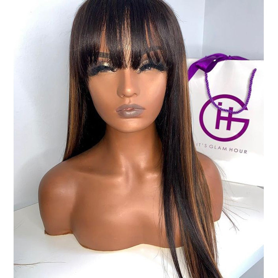 Fringe Wigs Brazilian Highlight Glueless Full Lace Human Hair Wigs with Baby Hair Lace Front Wigs with Bangs