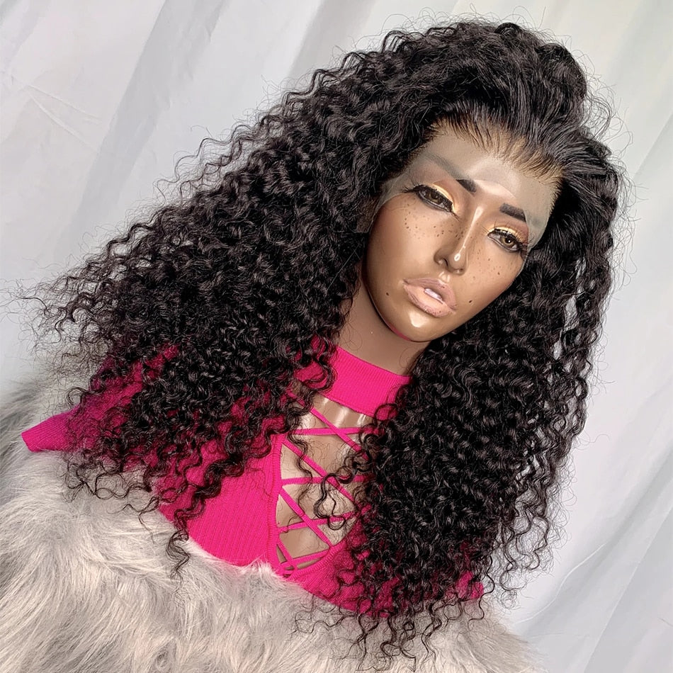 Malaysia Remy Human Hair Kinky Curly Lace Front Wigs Deep Part Lace Front Wigs Curly Human Hair