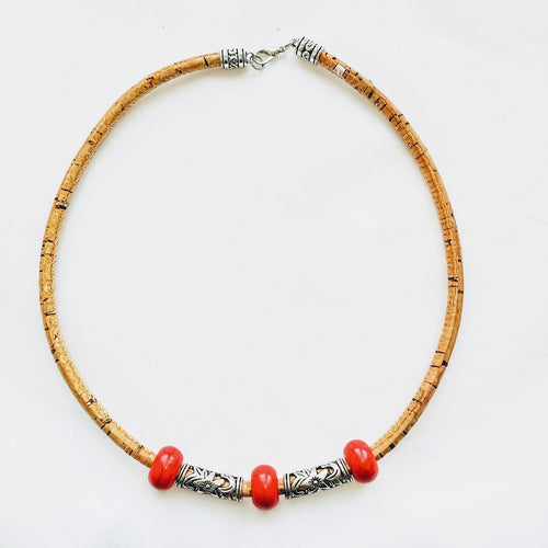 Collier Kork Schmuck Fashion Tikiwe rot