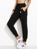 Pamela Black Drawstring Patch Peg Pants