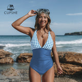 Solid Blue and Gingham V-neck One-Piece Swimsuit