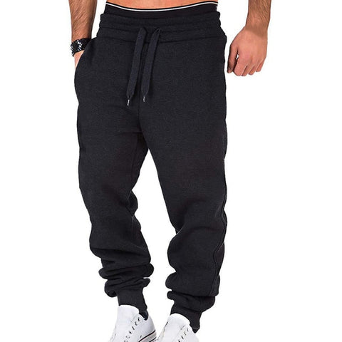 Casual Elastic Solid Drawstring Trousers