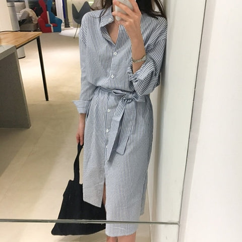 Casual Striped Shirt Dress Cotton and Linen
