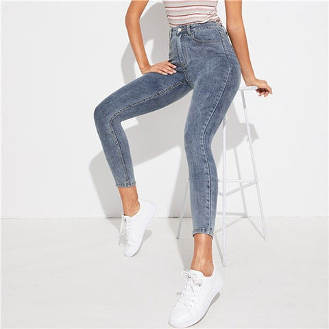 Grey Zipper Fly Bleach Wash Skinny Casual Jeans