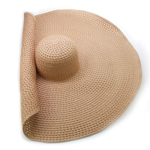 Handmade Knitted Hollow Women Big Brim Sun Hat Breathable Cool