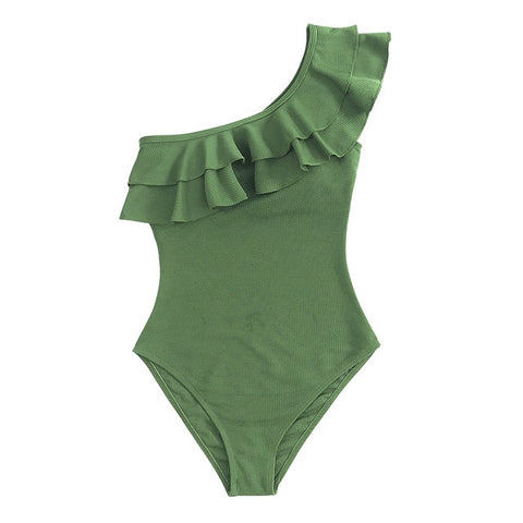 Solid Green One-shoulder Ruffled One-Piece Padded  Swimsuit