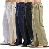 Mens Nature Linen Trousers Casual Pants Elastic Waist Straight Loose