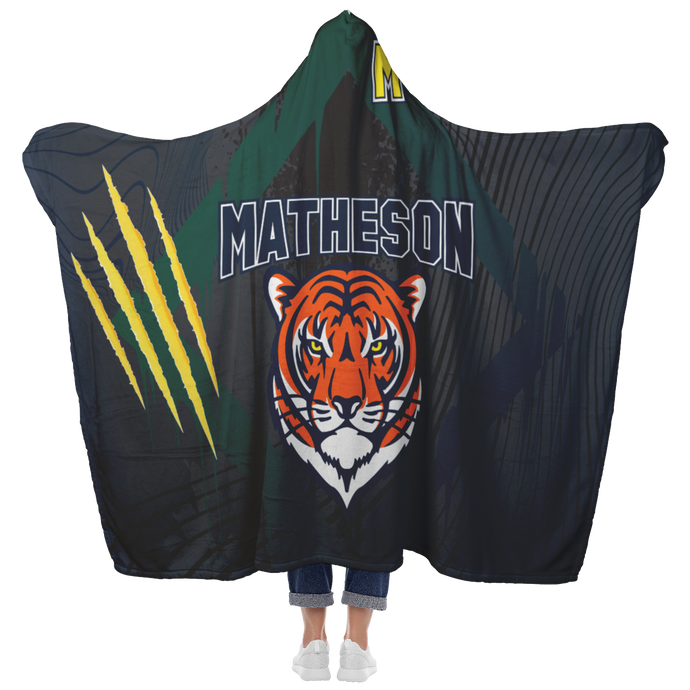 Matheson Junior High School Premium Hooded Sherpa Blanket with Personalized Mittens