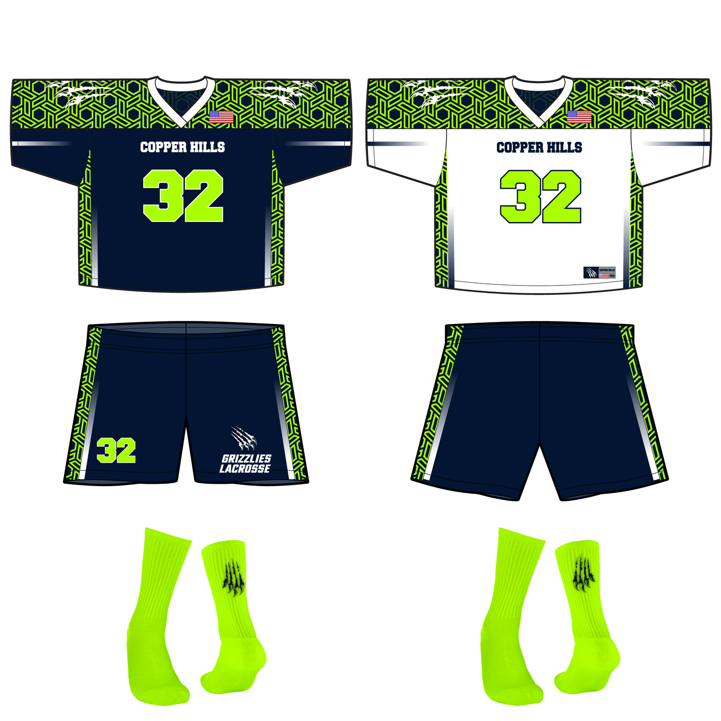Men's Official Copper Hills Grizzlies Lacrosse Reversible Game Uniform Bundle