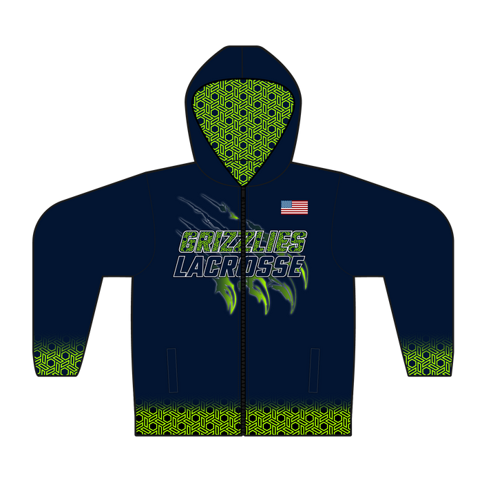 Youth Copper Hills Grizzlies Full-Zip Hoodie Jacket with Custom Printed Liner & Personalization