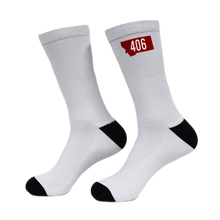 Load image into Gallery viewer, Red 406 Montana Rebels Crew Game Socks-AVAILABLE IN APRIL!
