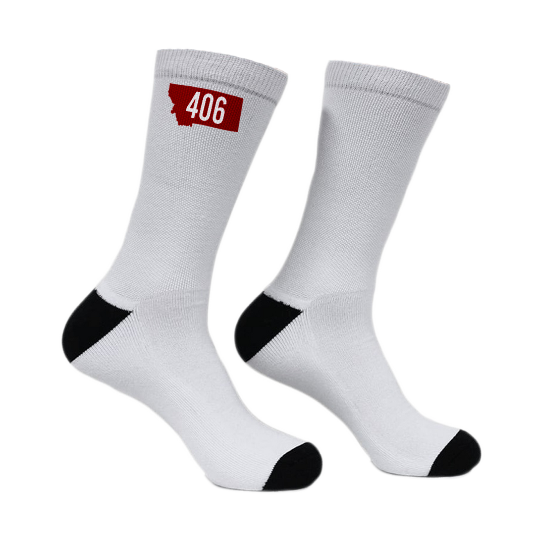 Red 406 Montana Rebels Crew Game Socks-AVAILABLE IN APRIL!