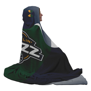 Wheelin' Jazz Premium Hooded Sherpa Blanket with Personalized Mittens