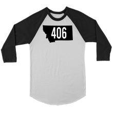 Load image into Gallery viewer, Adult Montana Rebels 406 3/4 Raglan Black Shirt with Contrast Sleeves