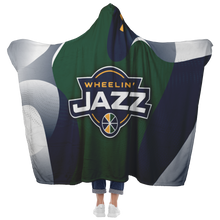 Load image into Gallery viewer, Wheelin' Jazz Premium Hooded Sherpa Blanket with Personalized Mittens