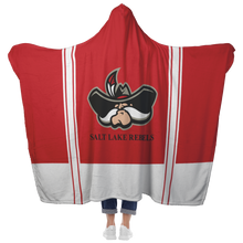Load image into Gallery viewer, Classic Red Salt Lake Rebels Premium Hooded Sherpa Blanket with Personalized Mittens