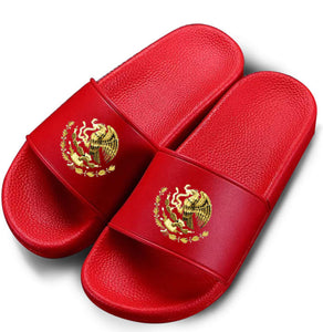 Red Mexico Eagle Symbol Slides (Women/Men)