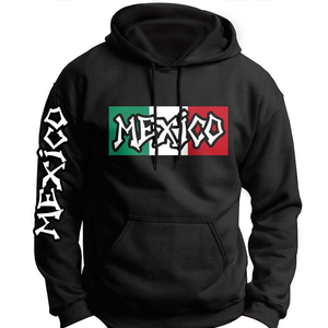Custom Mexico Cotton Hoodie With Flag And Sleeve Print