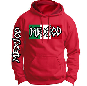 Custom Red Mexico Cotton Hoodie With Flag and Sleeve Print