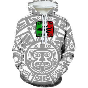 Hecho En Mexico Gray and White Hoodie