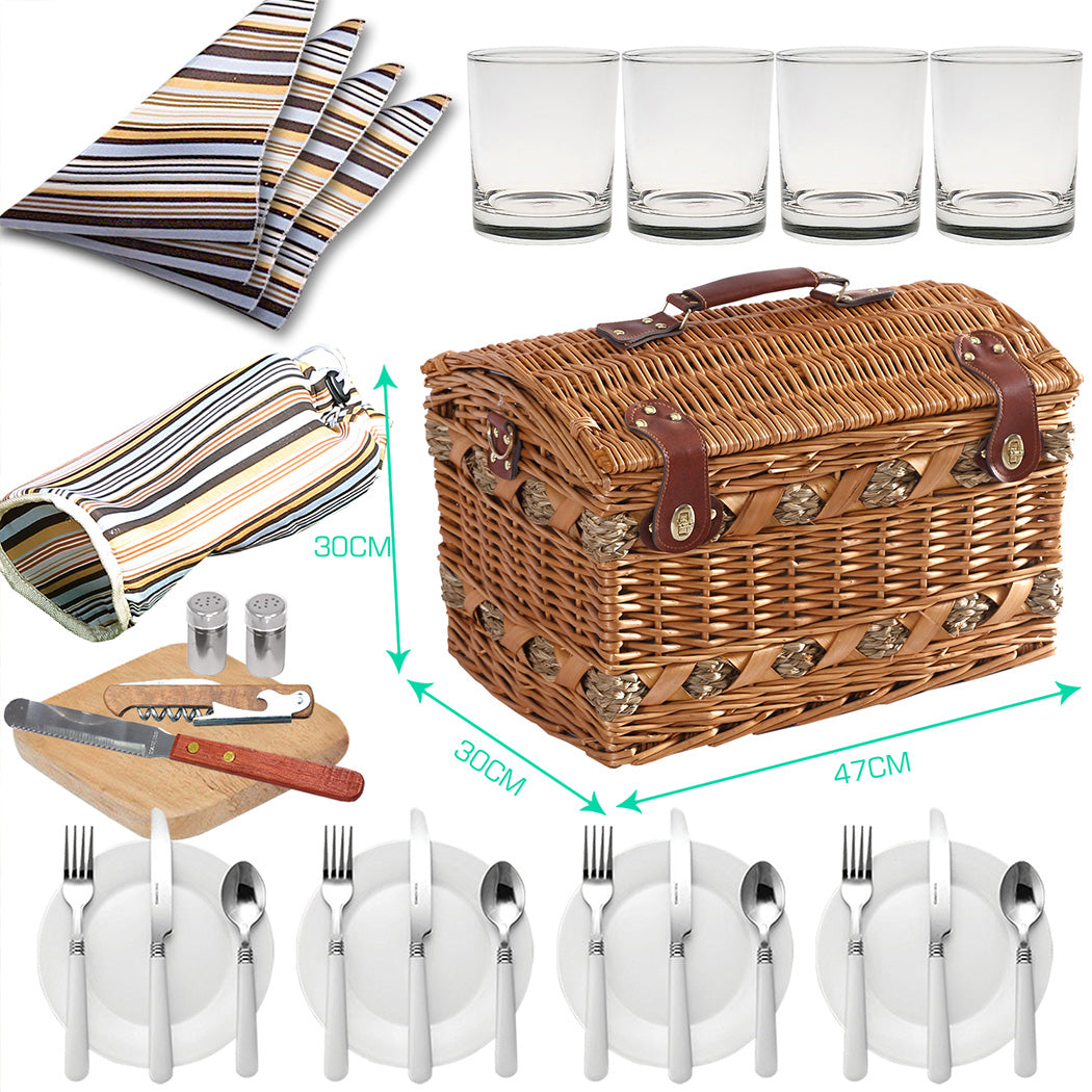 Wicker 4 Person Picnic Basket Baskets Set Outdoor Blanket Deluxe Gift Gdp2