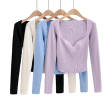 Load image into Gallery viewer, Women Solid thin Sweater long sleeve knitted jumper Tops