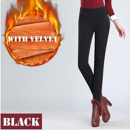 Women High Waist Stretch Thick Legging Skinny Warm Pencil Pants