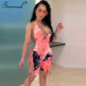 Tie Dye Biker Shorts Playsuits Women V Neck Backless Sexy Hot Ribbed Rompers