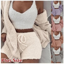 Load image into Gallery viewer, Velvet Three Piece Set Tops Shorts Court Suit for Women