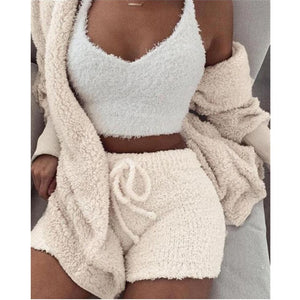 Velvet Three Piece Set Tops Shorts Court Suit for Women