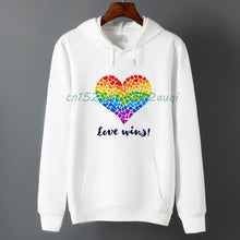 Load image into Gallery viewer, white rainbow shirt for men with love hoodies