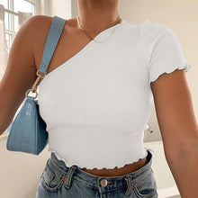 Load image into Gallery viewer, One-shoulder Solid Ruched Clubwear Tee Top New