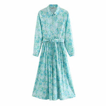 Load image into Gallery viewer, Women fashion long sleeve flower print pleated Dress for Casual Wear