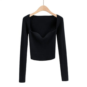 Women Solid thin Sweater long sleeve knitted jumper Tops